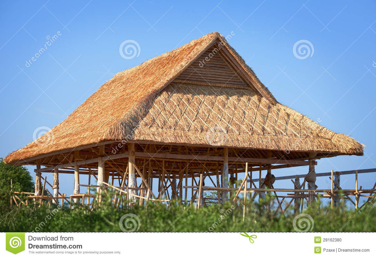 Bamboo Roof Under Construction Stock Photo Image Of
