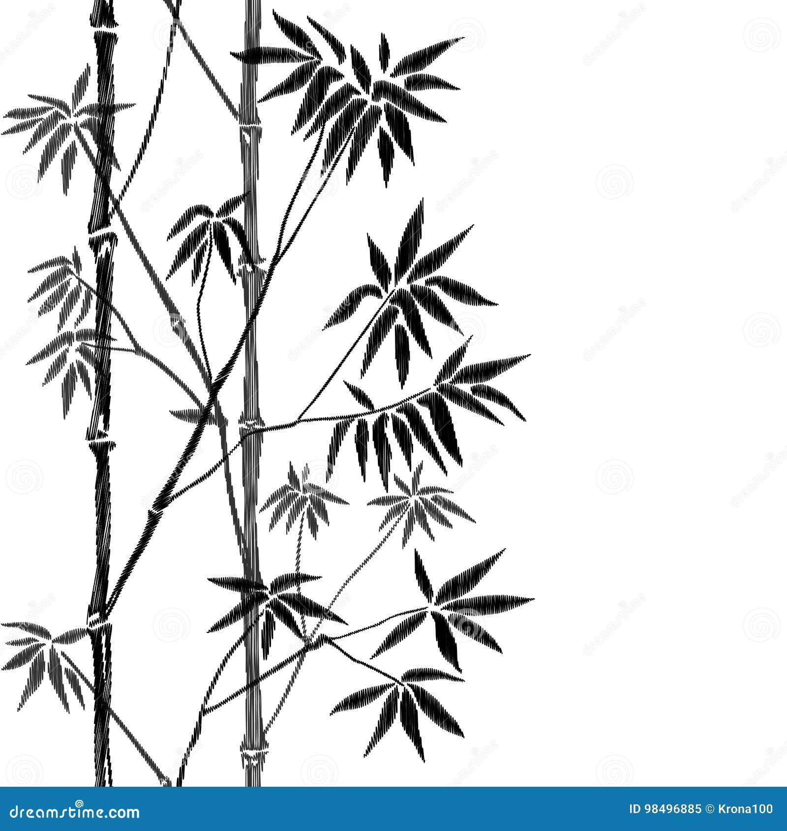 Bamboo Seamless Vertical Embroidery Border Stock Vector ...