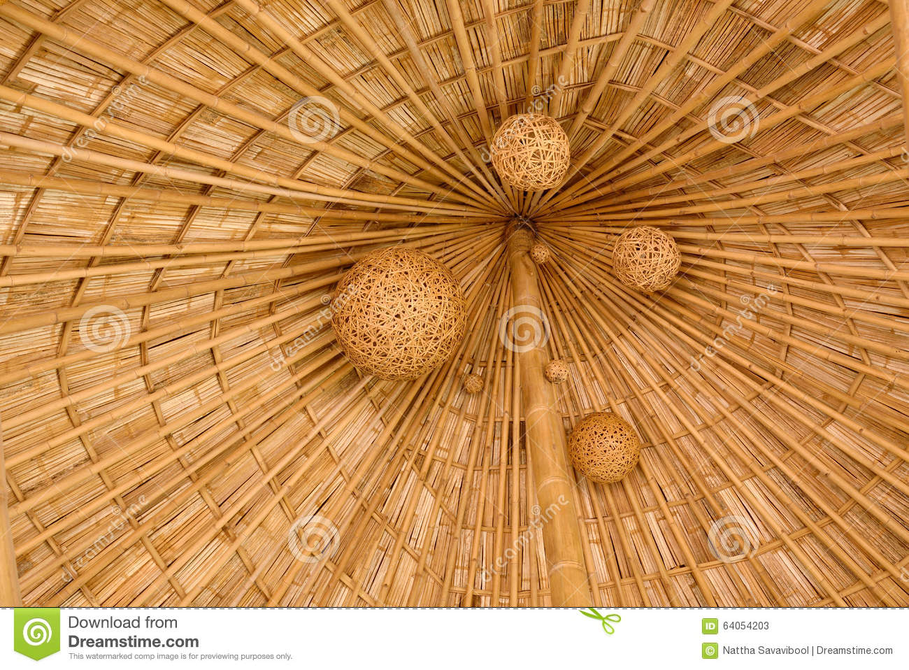 Bamboo Shingle Roof With Woven Bamboo Hanging Folk Art