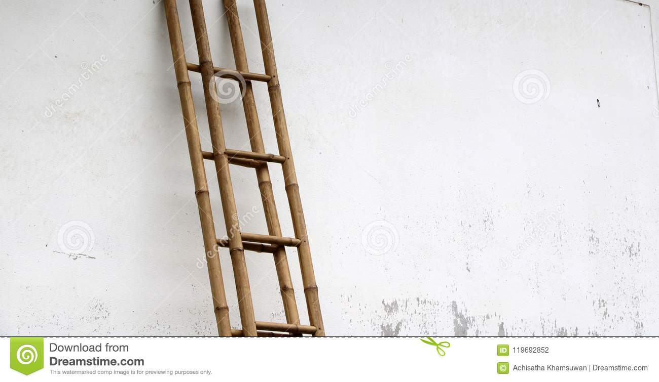 Download Bamboo Stairs Leaning Against The Wall. Stock Photo   Image Of  Park, Class