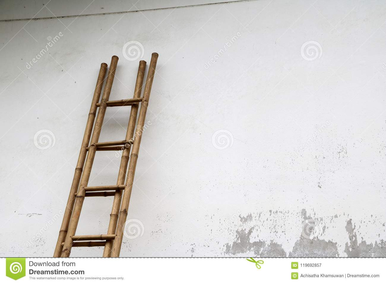 Bamboo Stairs Leaning Against The Wall.