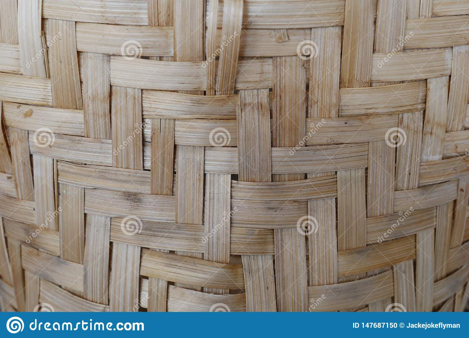 Bamboo or straw weaving. wooden Basket texture background