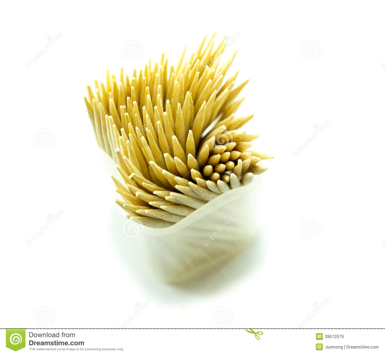 Bamboo toothpick on white backgroud