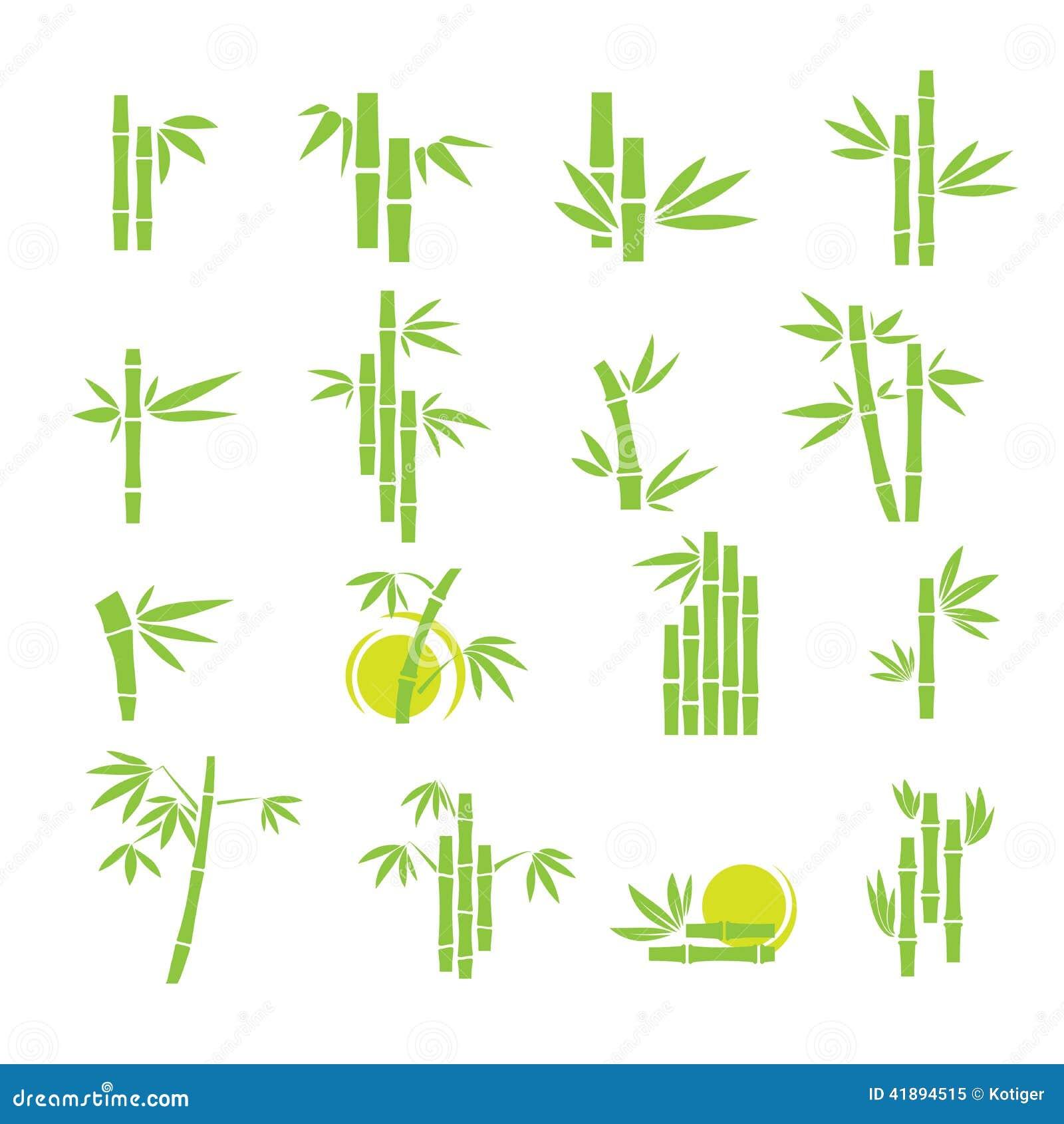 Bamboo Vector Symbol Icons Set Stock Vector Image 41894515