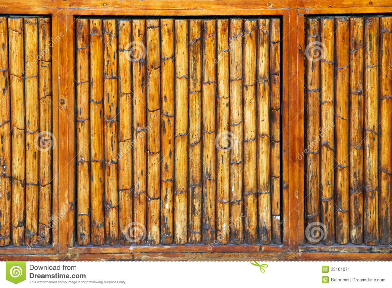 Bamboo wall stock image of pattern wooden sticks