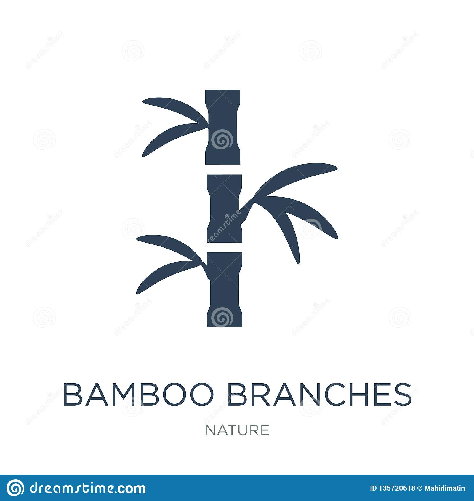 Bambufilialsymbol i moderiktig designstil bambufilialsymbol som isoleras på vit bakgrund enkel symbol för bambufilialvektor