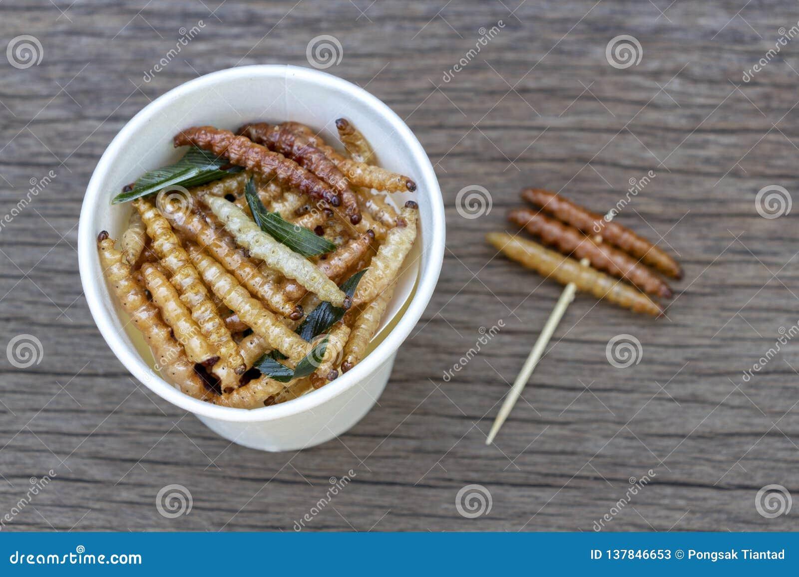 Bambus- essbare Wurminsekten knusperig oder Bambus-Caterpillar in der Weißbuchschale auf hölzerner Tabelle Das Konzept von Protei