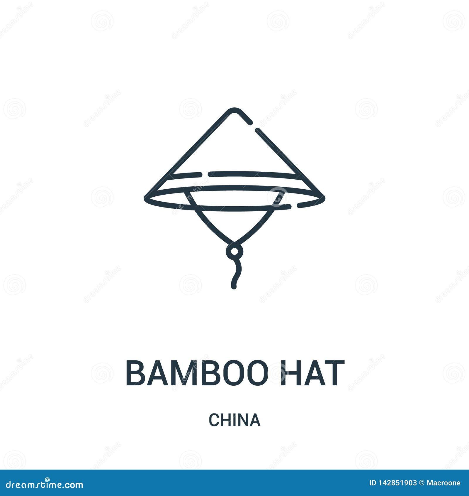 Bambusowy kapeluszowy ikona wektor od porcelanowej kolekcji Cienka kreskowa bambusowa kapeluszowa kontur ikony wektoru ilustracja