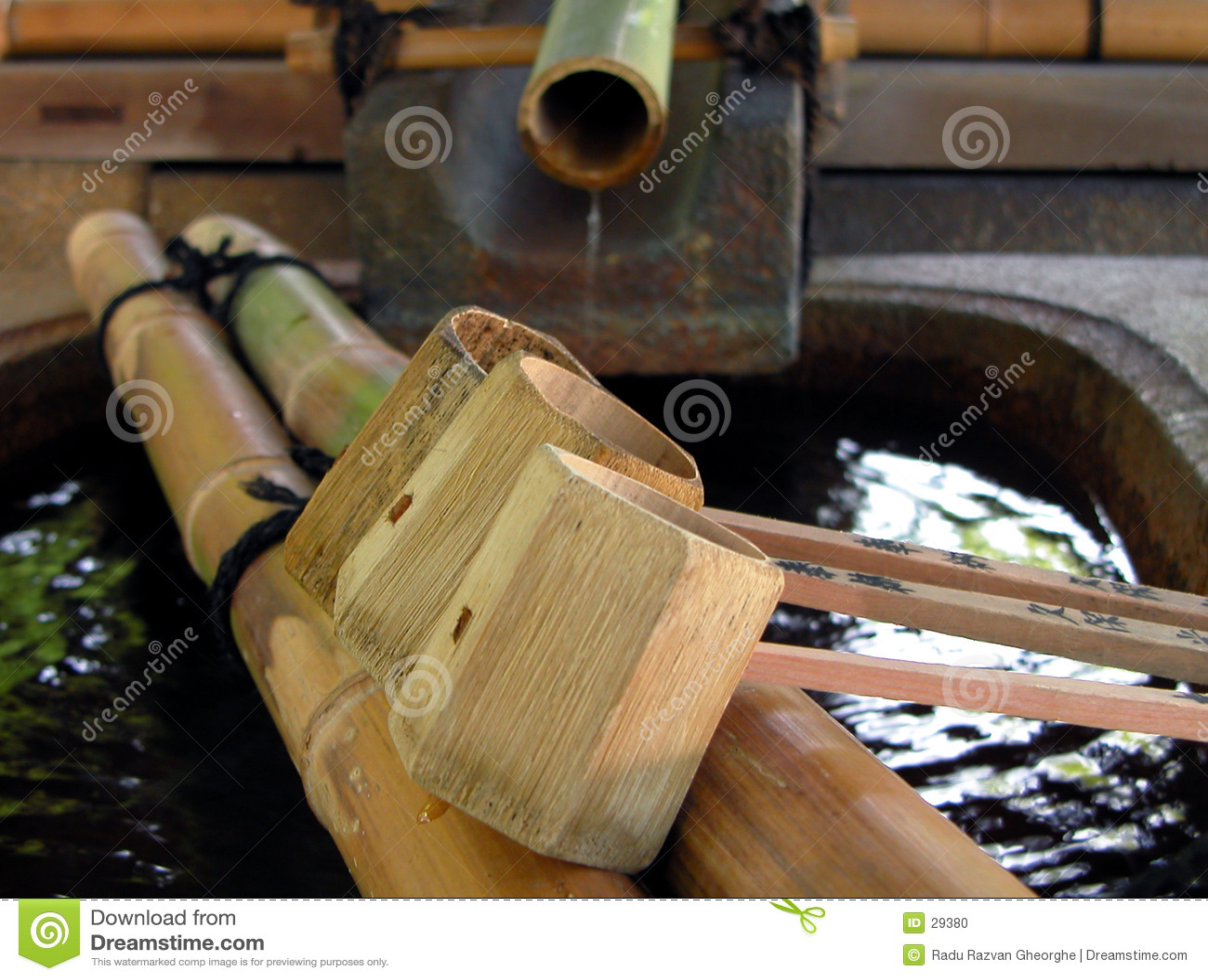 Bambuspringbrunnladles