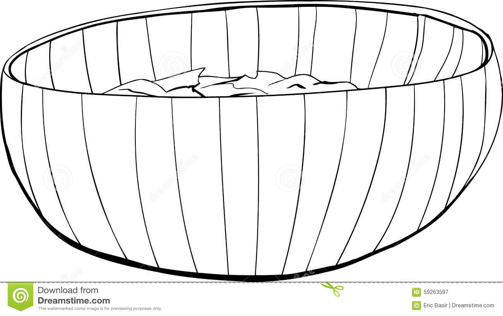 Bambusschussel Mit Salat Entwurf Stock Abbildung Illustration Von