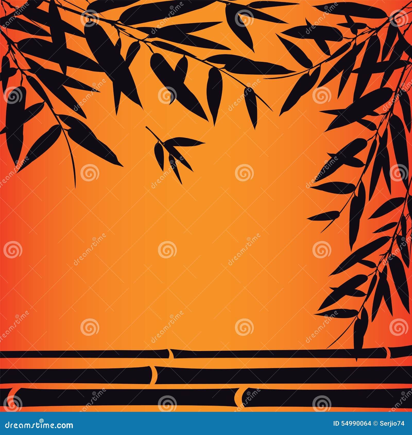 Bambuträd och sidor på solnedgångtid