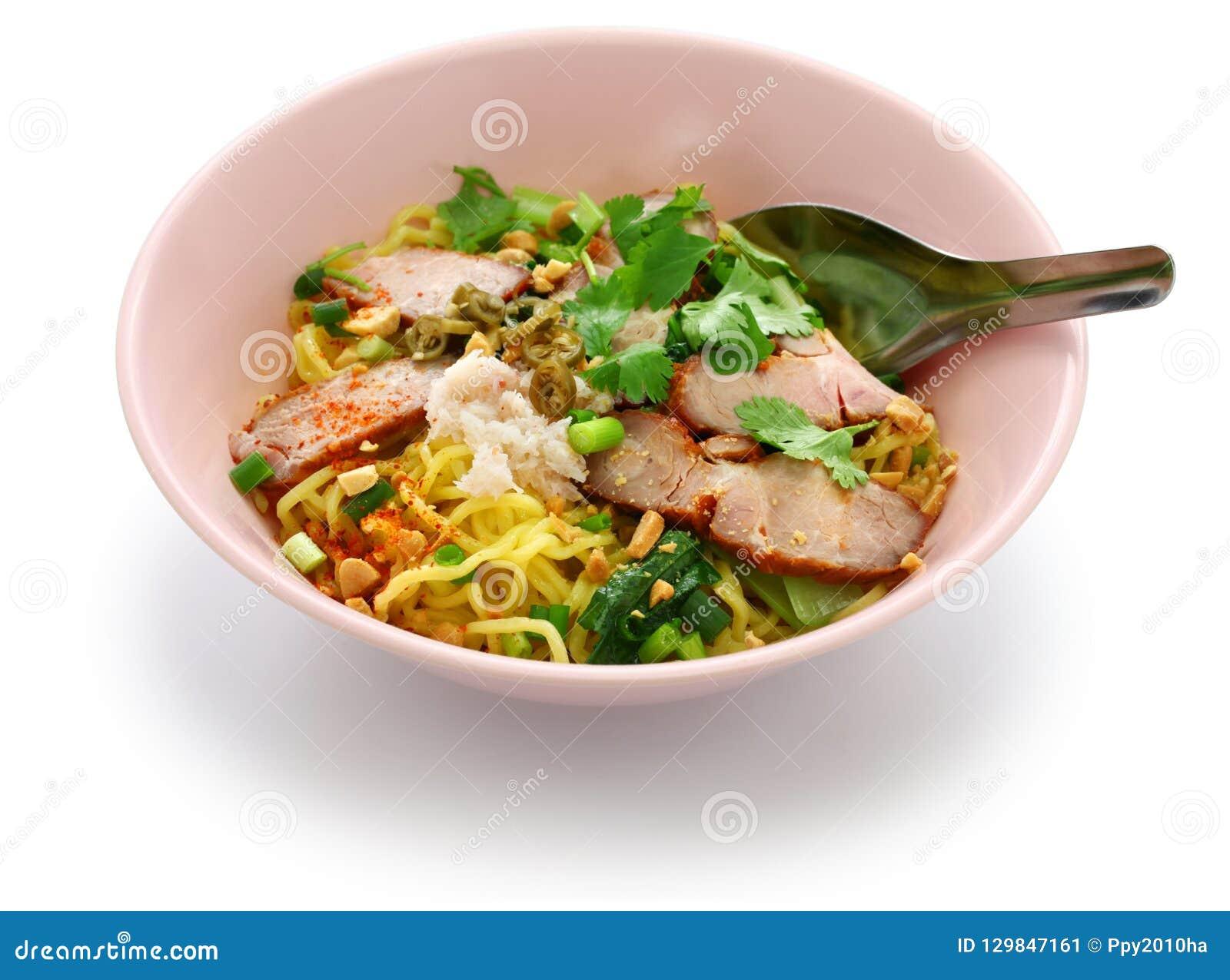 Egg noodles served with roast pork, thai food