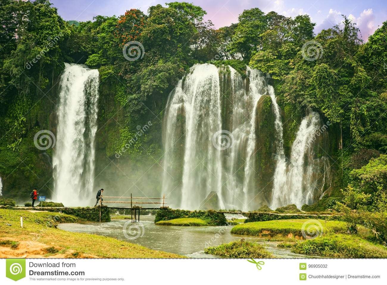 Ban Gioc Waterfall In Cao Bang Viet Nam The Waterfalls Are Located In An Area Of Mature Karst Formations Were The Original Editorial Photography Image Of Fall Famous 96905032