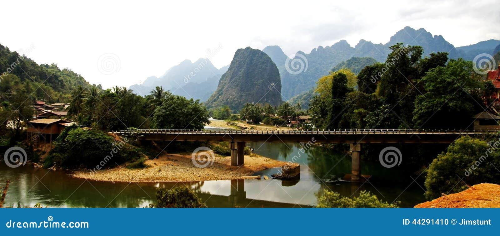 Ban That Laos  City pictures : Ban Pha Tang Bridge Stock Photo Image: 44291410