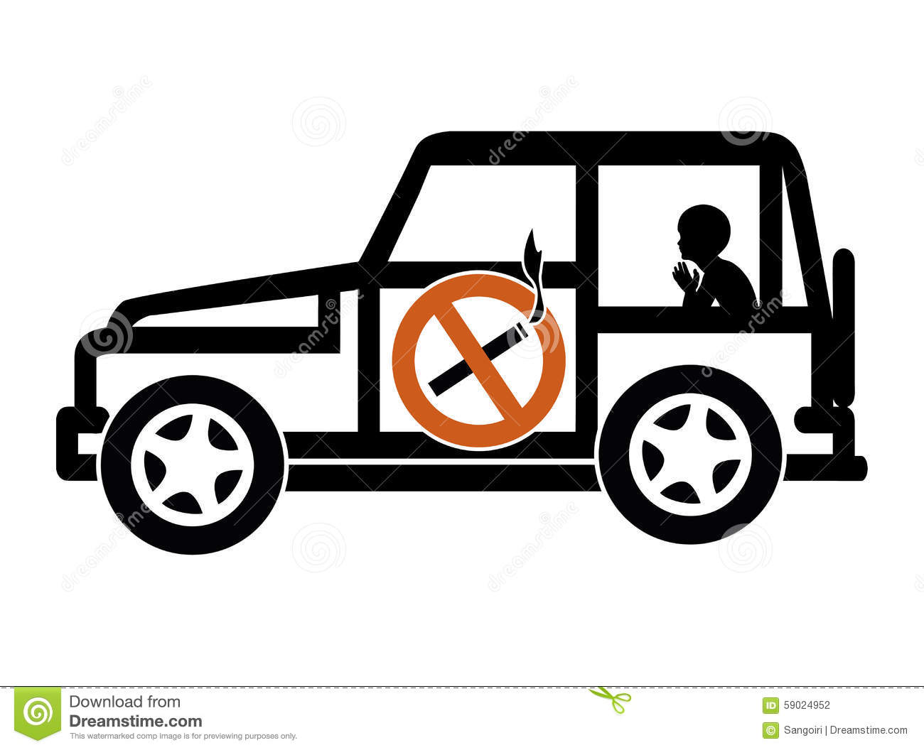 Ban Smoking In Cars With Minors Stock Illustration - Illustration of ...