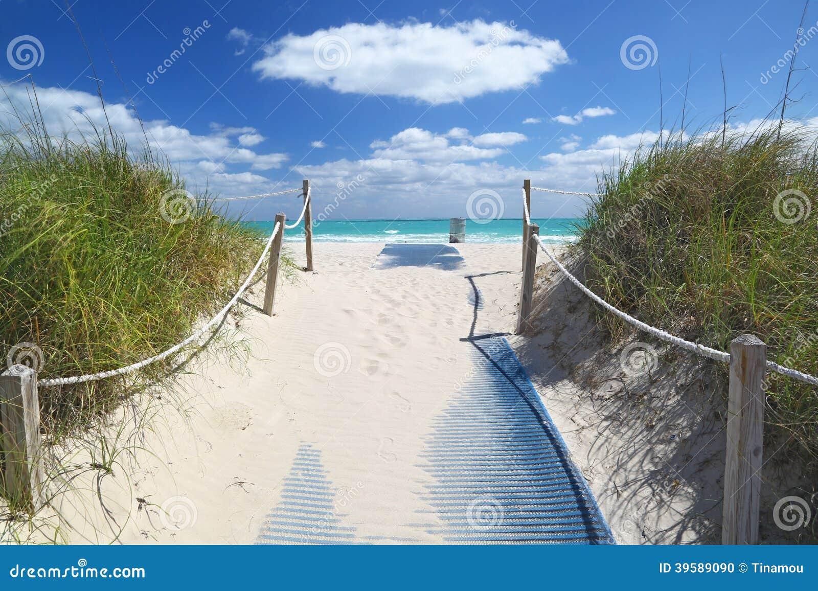 Bana som går till havet i Miami Beach