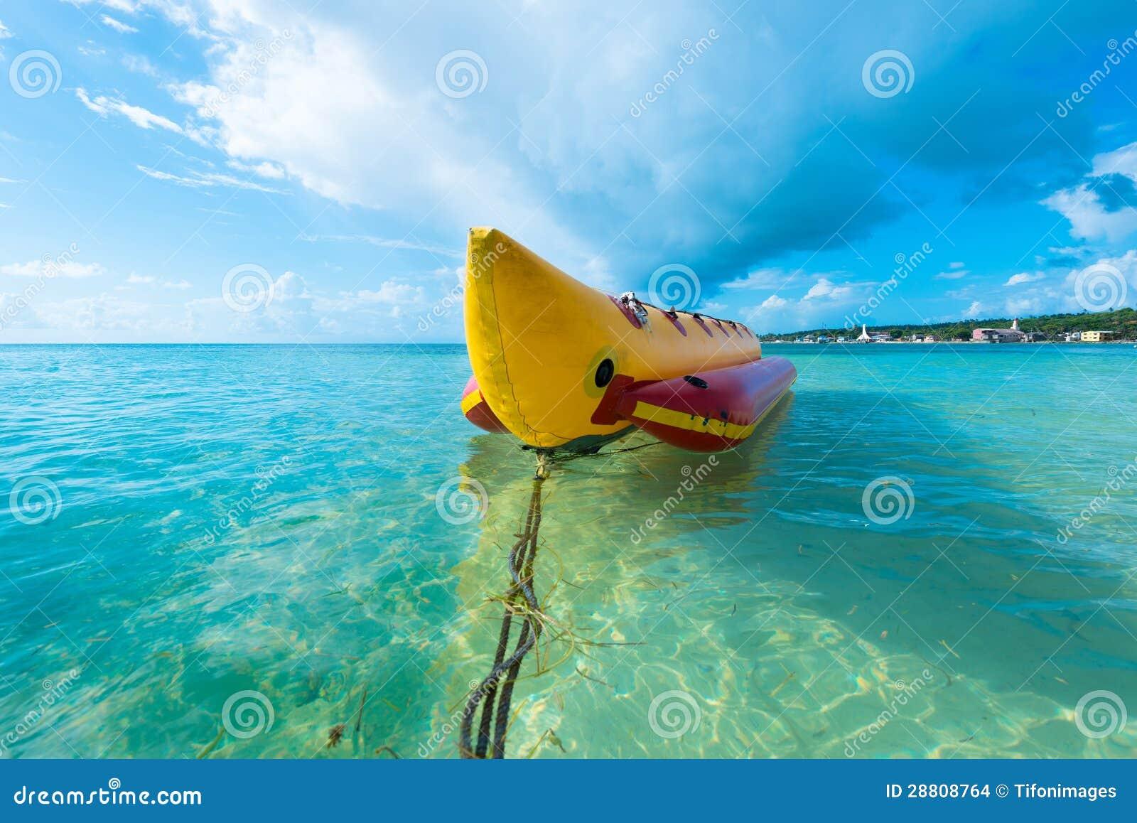 Inflatable banana boat at Caribbean Sea, San Andres Island, Colombia ...