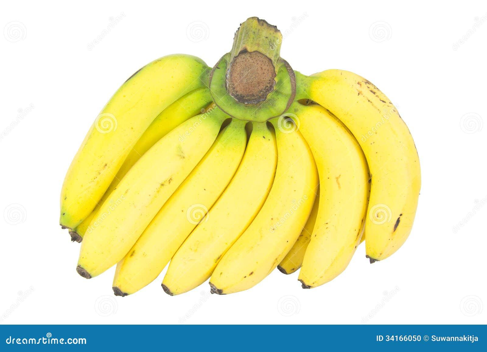 Banana Bunch Isolated On White Stock Photo - Image: 34166050