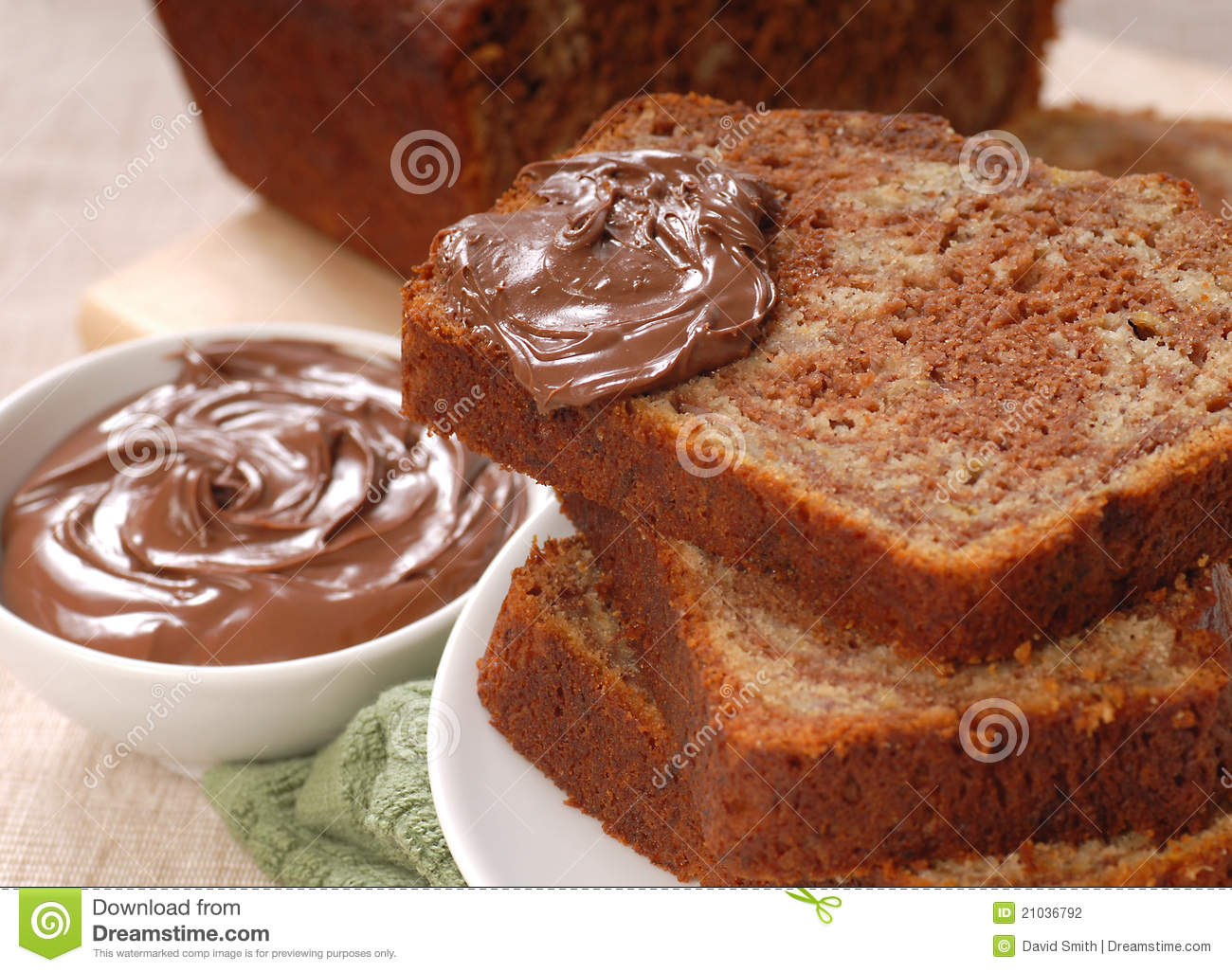 Banana And Chocolate Nut Bread With Nutella Stock Photography - Image ...