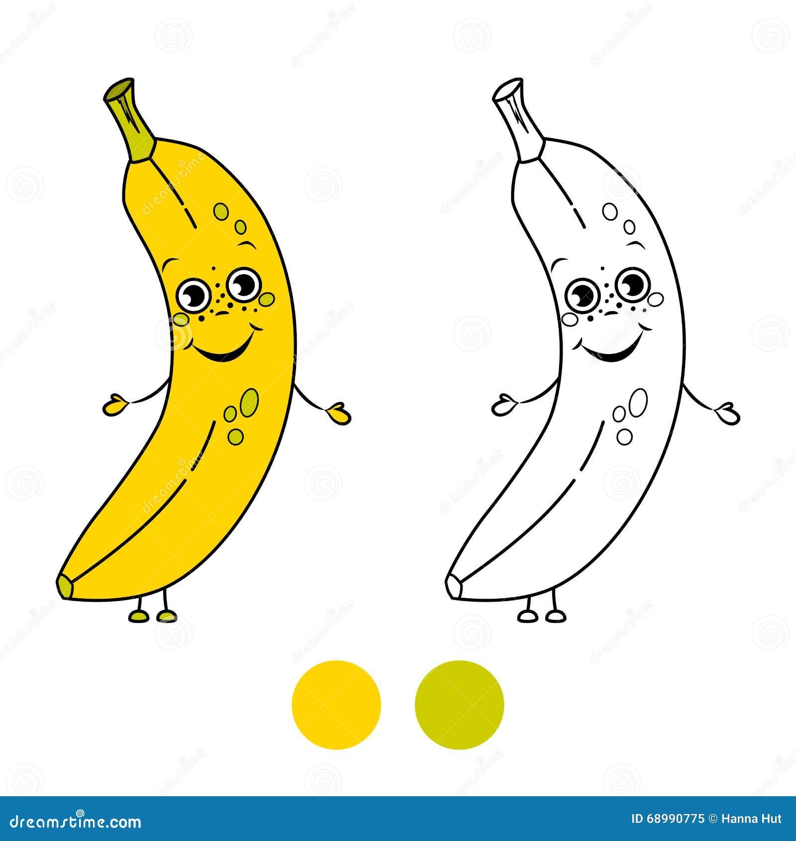 banana coloring book page stock vector image 68990775