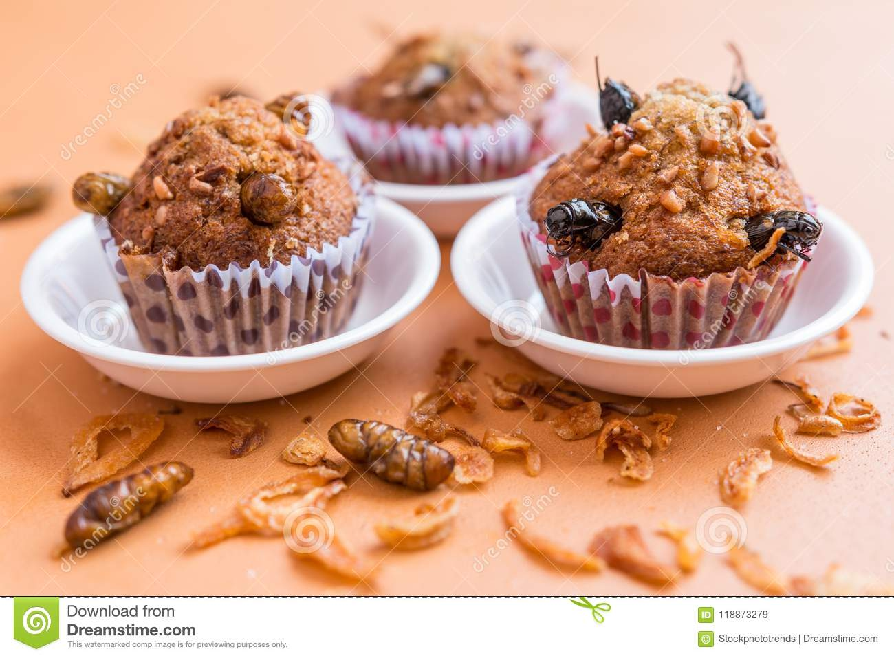 Banana cupcakes with insect