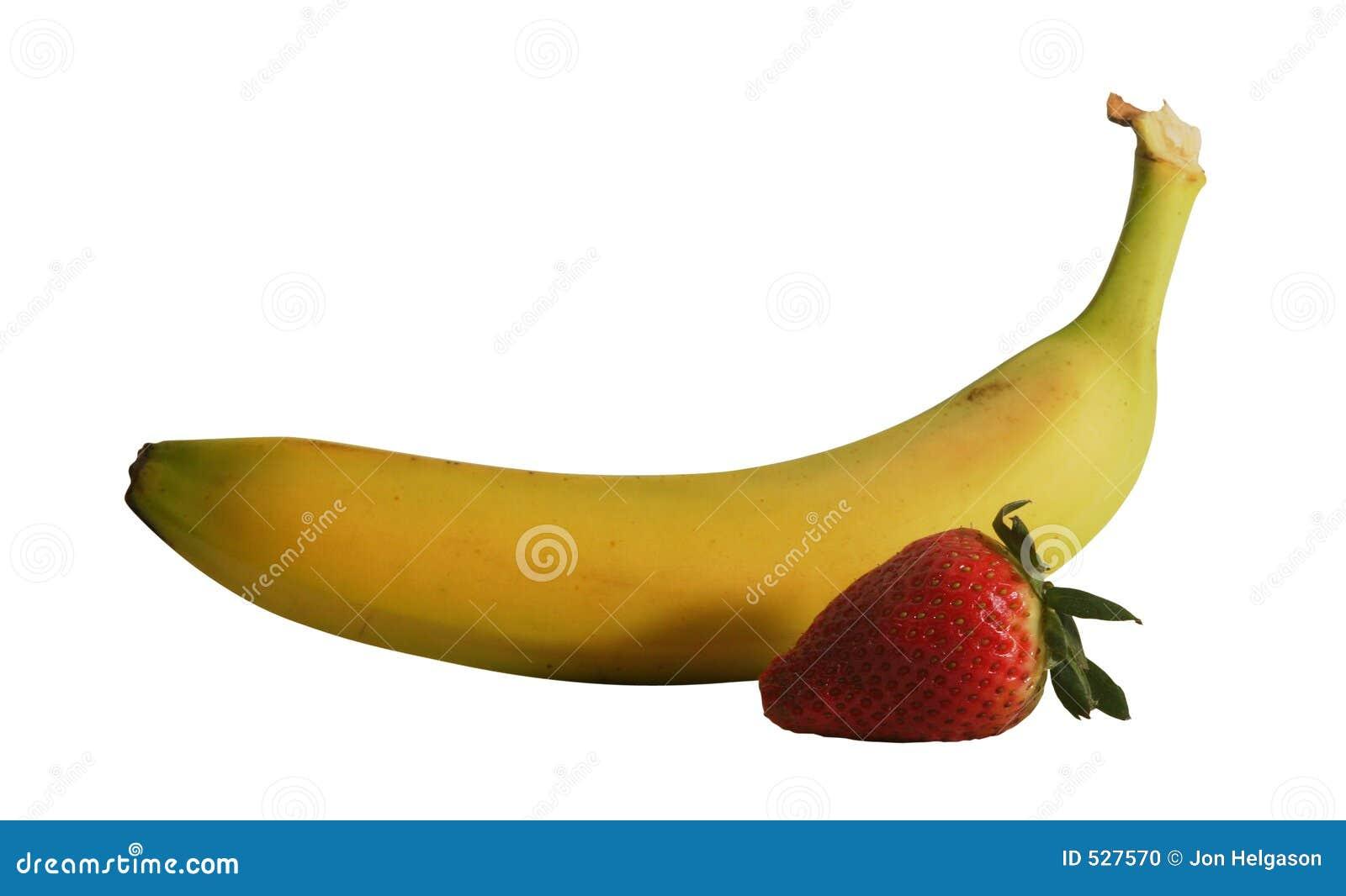 Banana e morango com trajeto