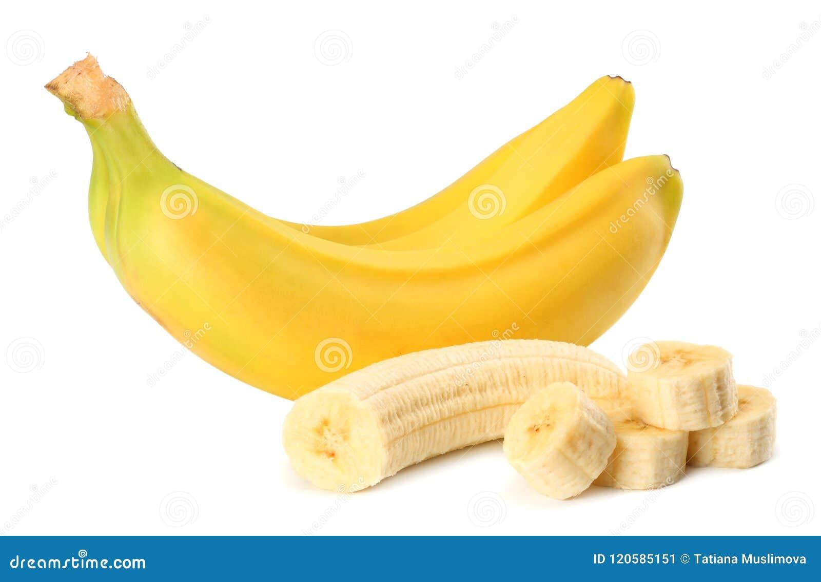 Banana fresca isolata su fondo bianco Alimento sano