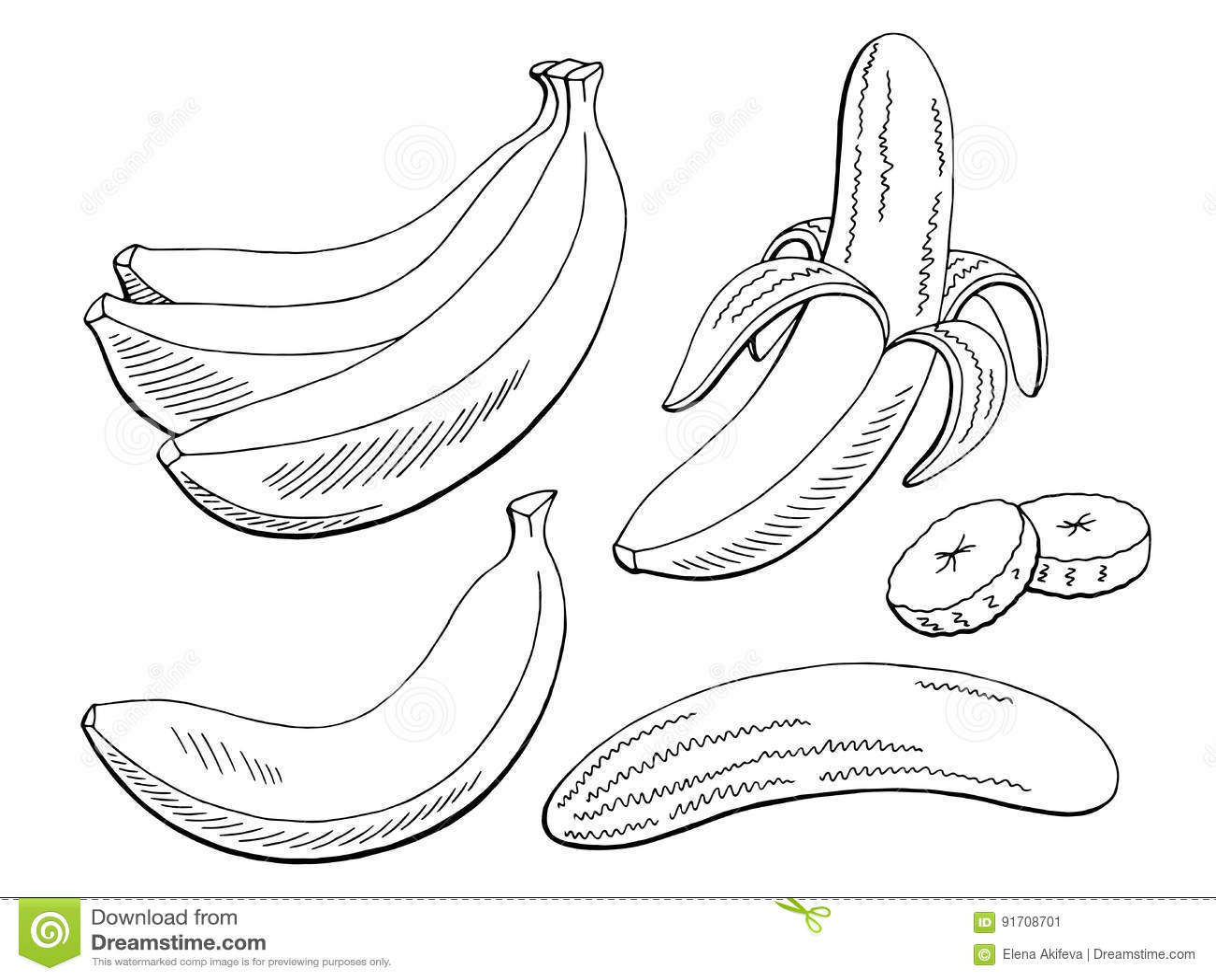 Banana Fruit Graphic Black White Isolated Sketch Illustration Stock