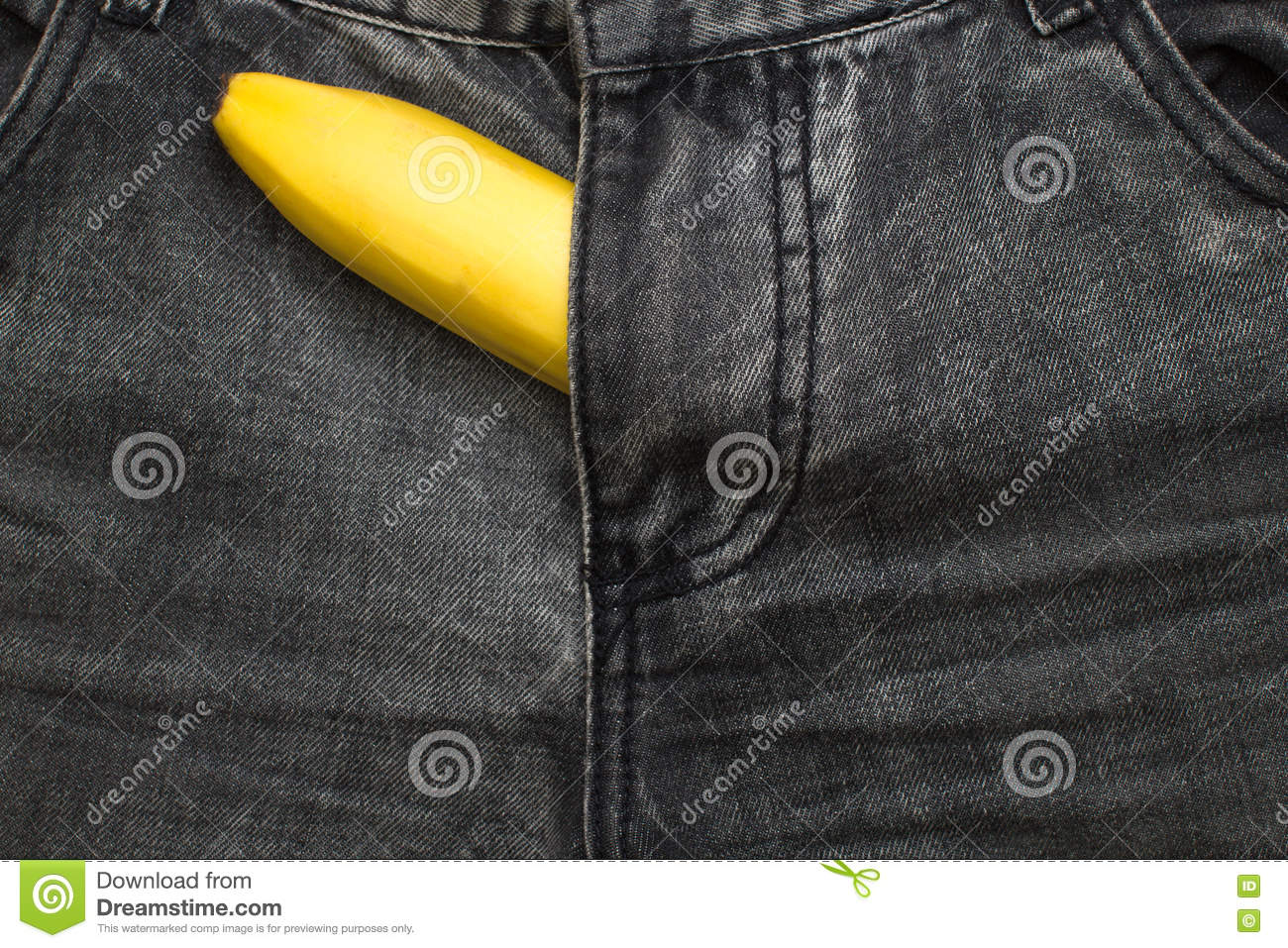 Banana Fruit Inside Jeans Pants Stock Image Image Of Material