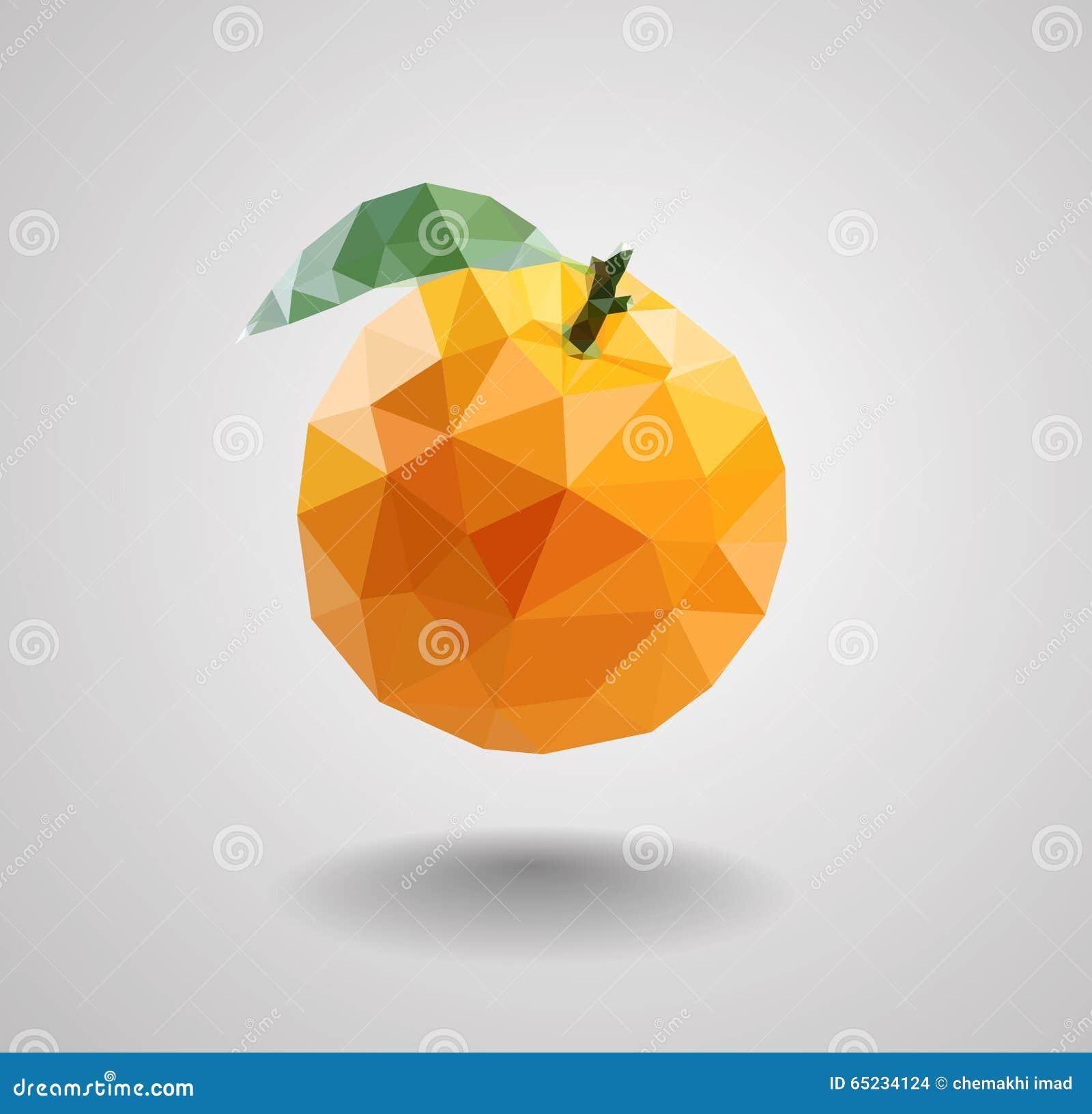 Orange Fruit In Polygons Style Stock Vector Illustration