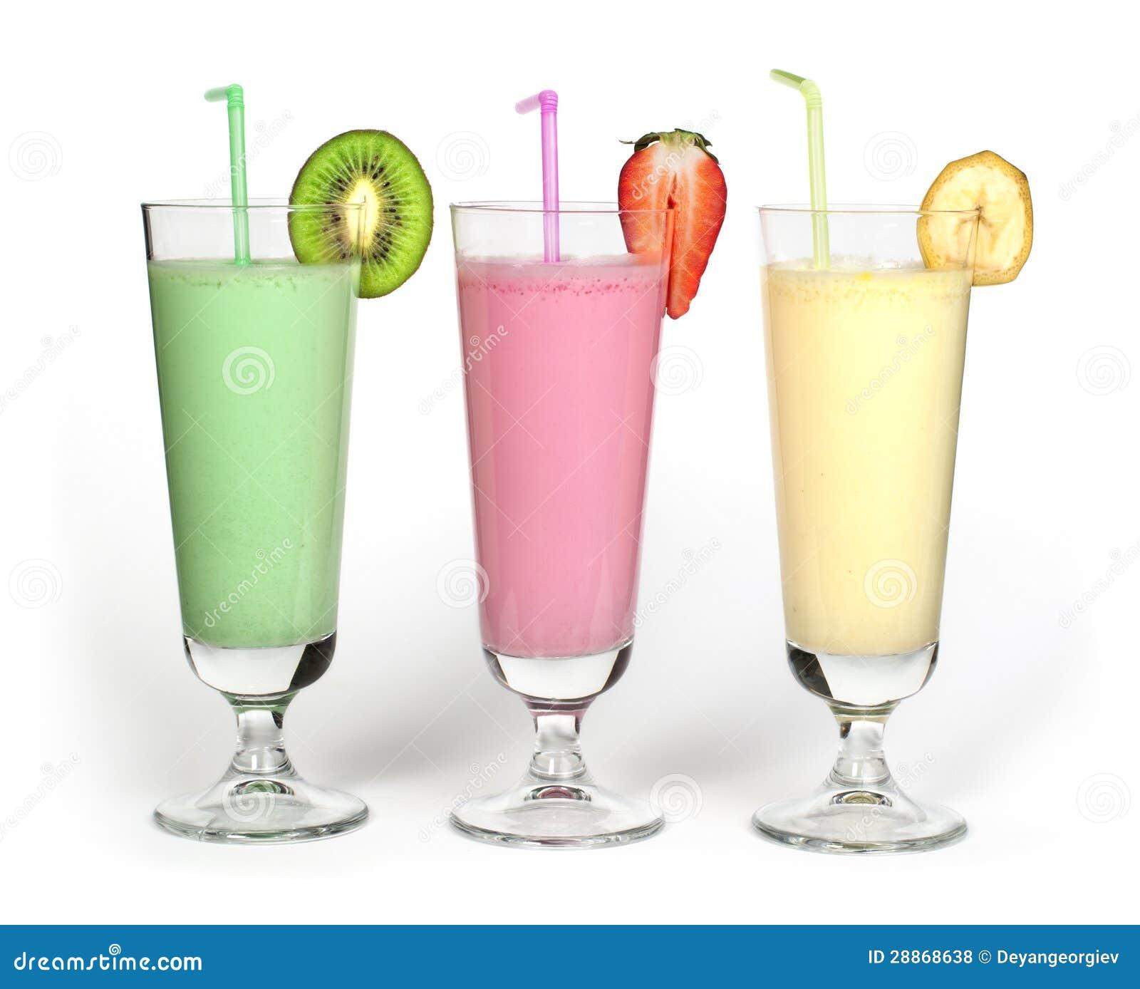 Royalty Free Stock Photos: Banana, kiwi and strawberry milk shake and ...