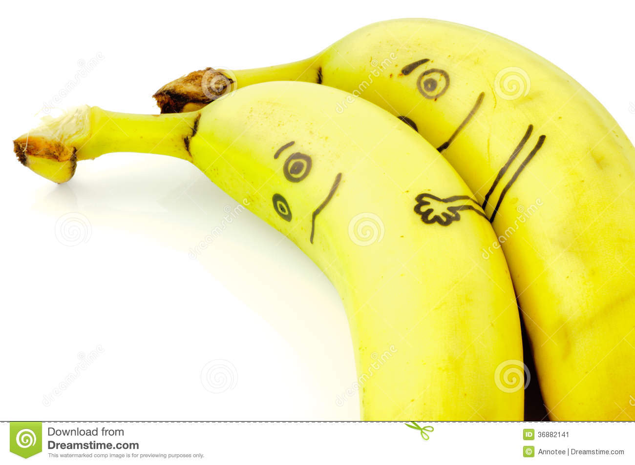 Two banana s figures lie sweet side by side in love