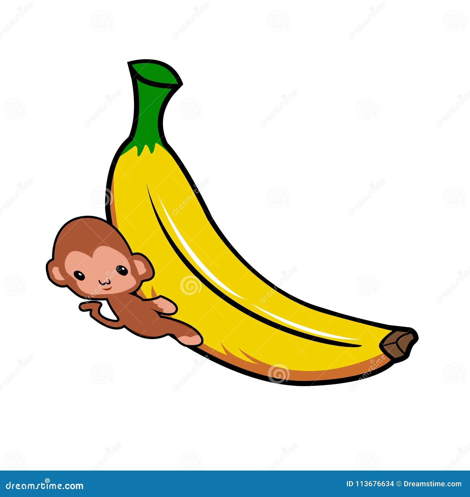 Banana And Monkey Is Hugging Stock Vector Illustration Of Hugging