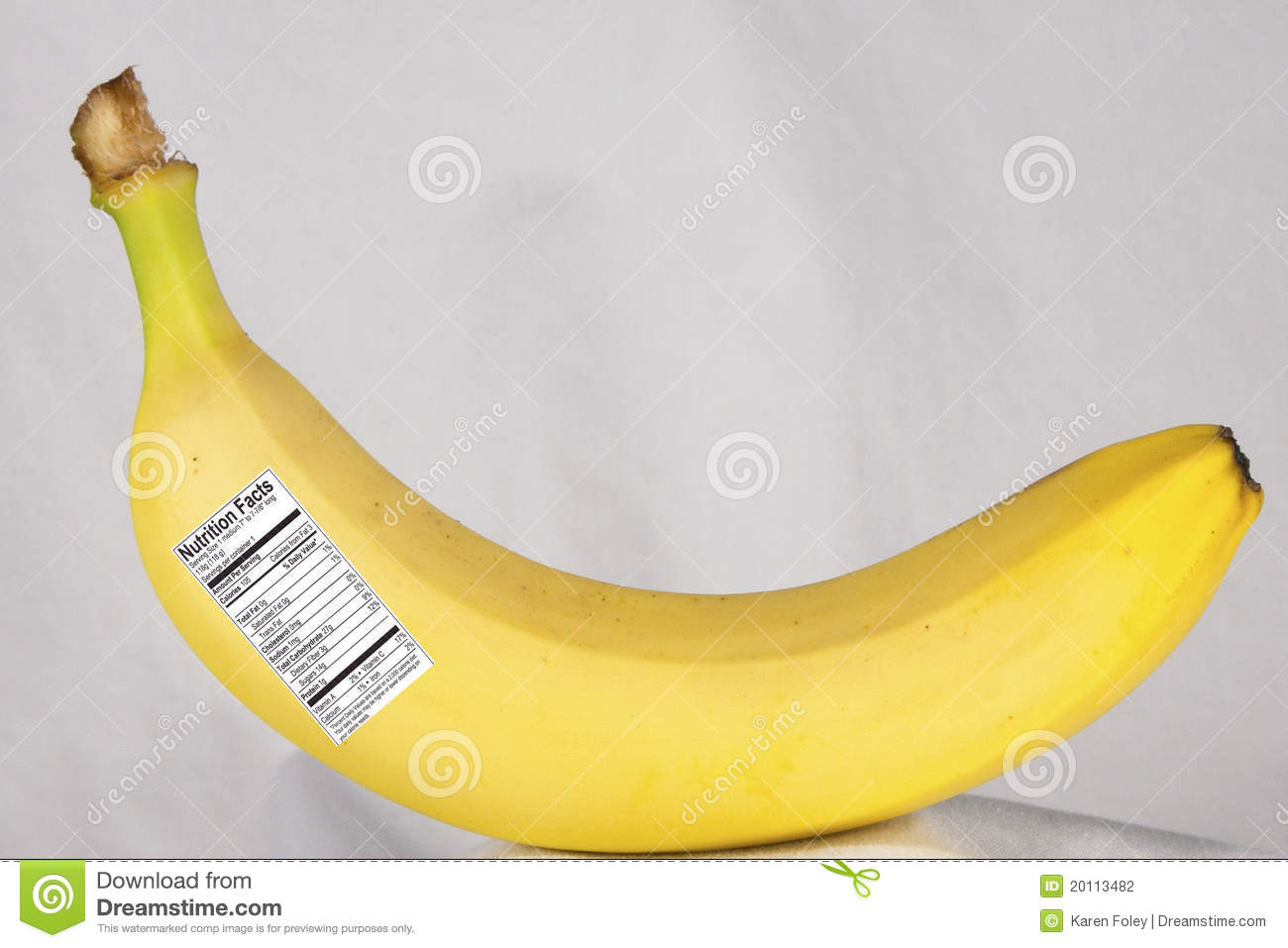 banana with nutrition label stock photo - image of percent