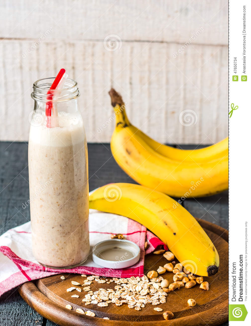 Banana Smoothie With Walnut Paste Stock Photo - Image: 47650734