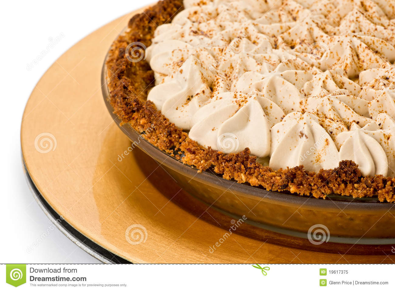 Banana toffee pie with hazelnut and cracker crust, and coffee whipped ...