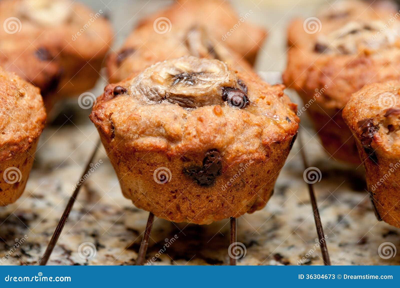 Banana, walnut and chocolate chip muffins
