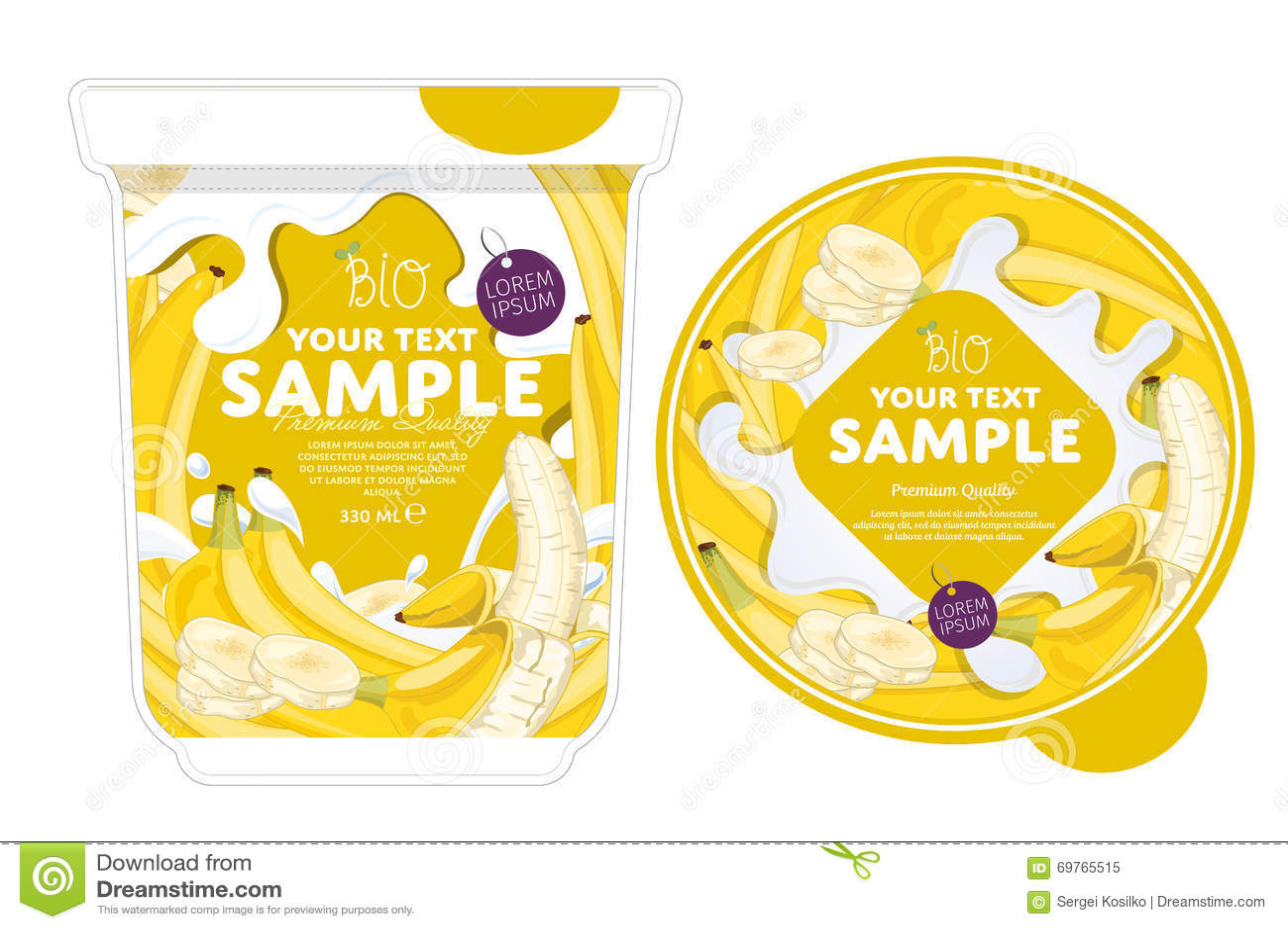 banana yogurt packaging design template stock illustration
