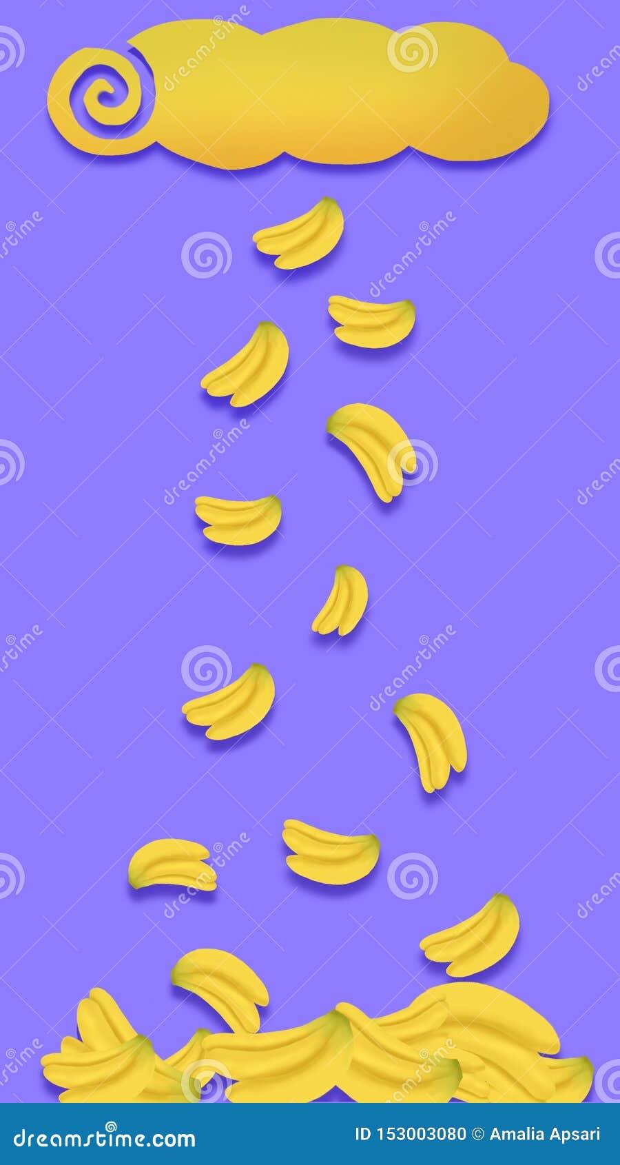 Bananas Rain Vertical Wallpaper Phone