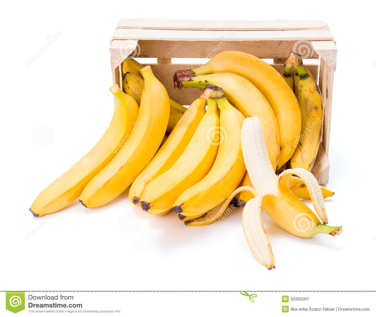 Bananas In Wooden Crate Stock Photo Image 50365001