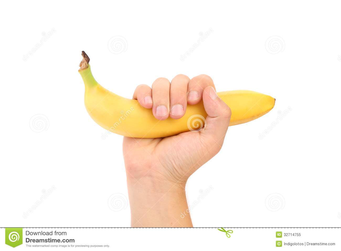 Banane de prise de main. fruit. d isolement.