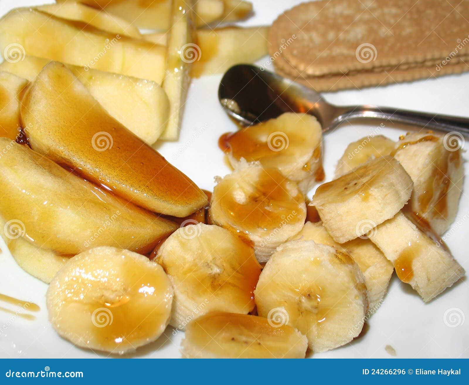 banane et apple avec le dessert de miel image libre de droits image 24266296