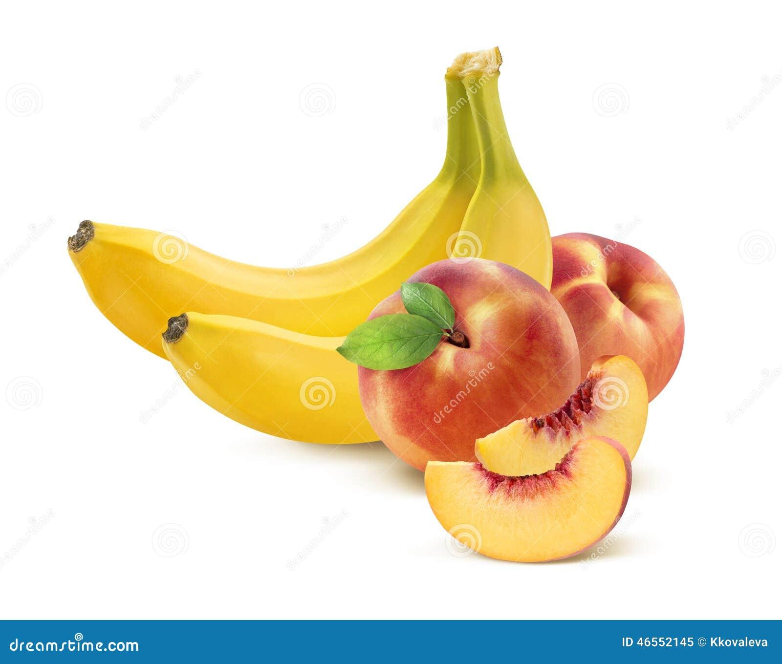 banane et p che sur le blanc image stock image 46552145. Black Bedroom Furniture Sets. Home Design Ideas