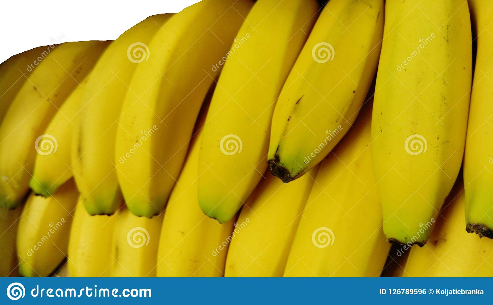 Banane fruit isolated nature tropical yellow background. Color, close. Royalty Free Stock Image