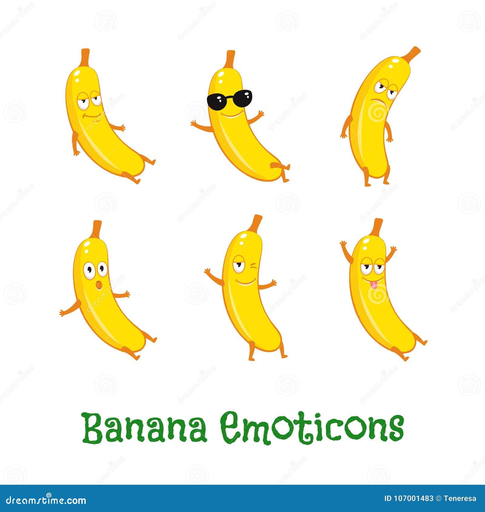Bananowi uśmiechy Śliczni kreskówek emoticons Emoji ikony