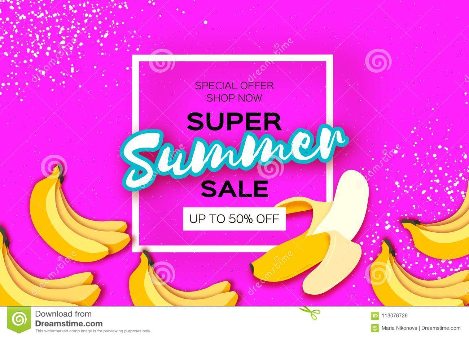 Bananowy Super lato sprzedaży sztandar w papieru cięcia stylu Origami pióra owoc Zdrowa świeża żywność na menchiach Kwadratowa ra