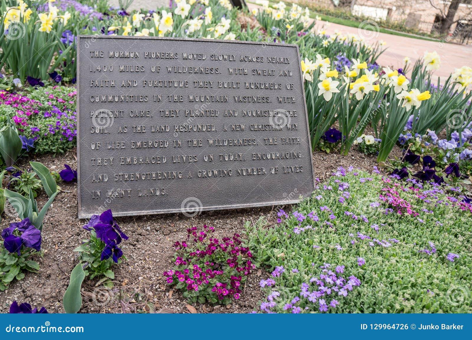 Banbrytande minnesmärke för mormon, i stadens centrum Salt Lake City, Utah