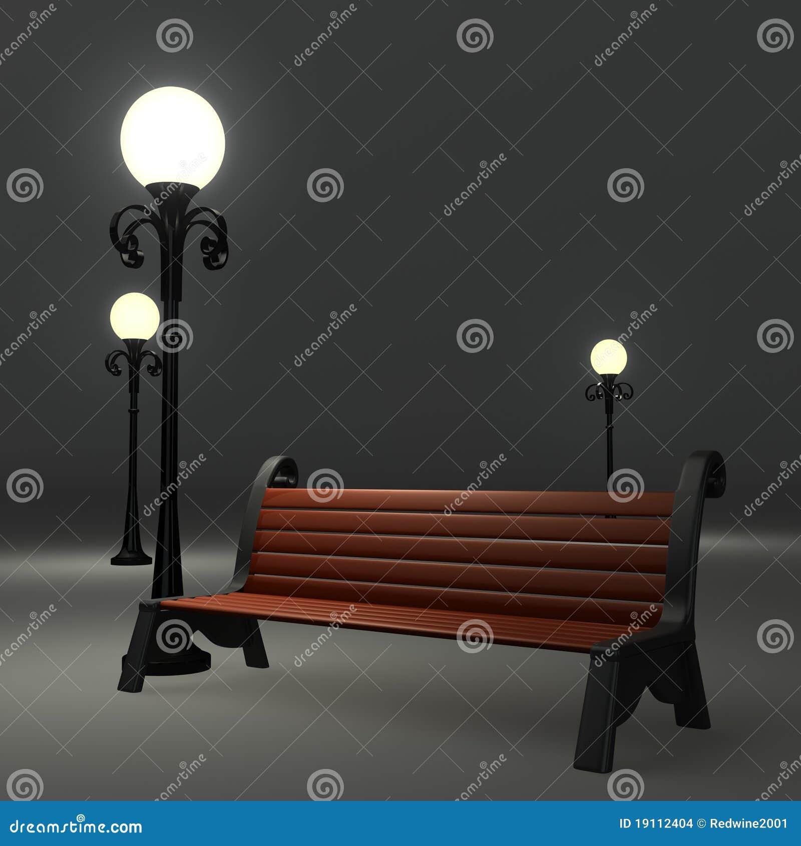banc 3d pr s du lampadaire de rue images stock image. Black Bedroom Furniture Sets. Home Design Ideas