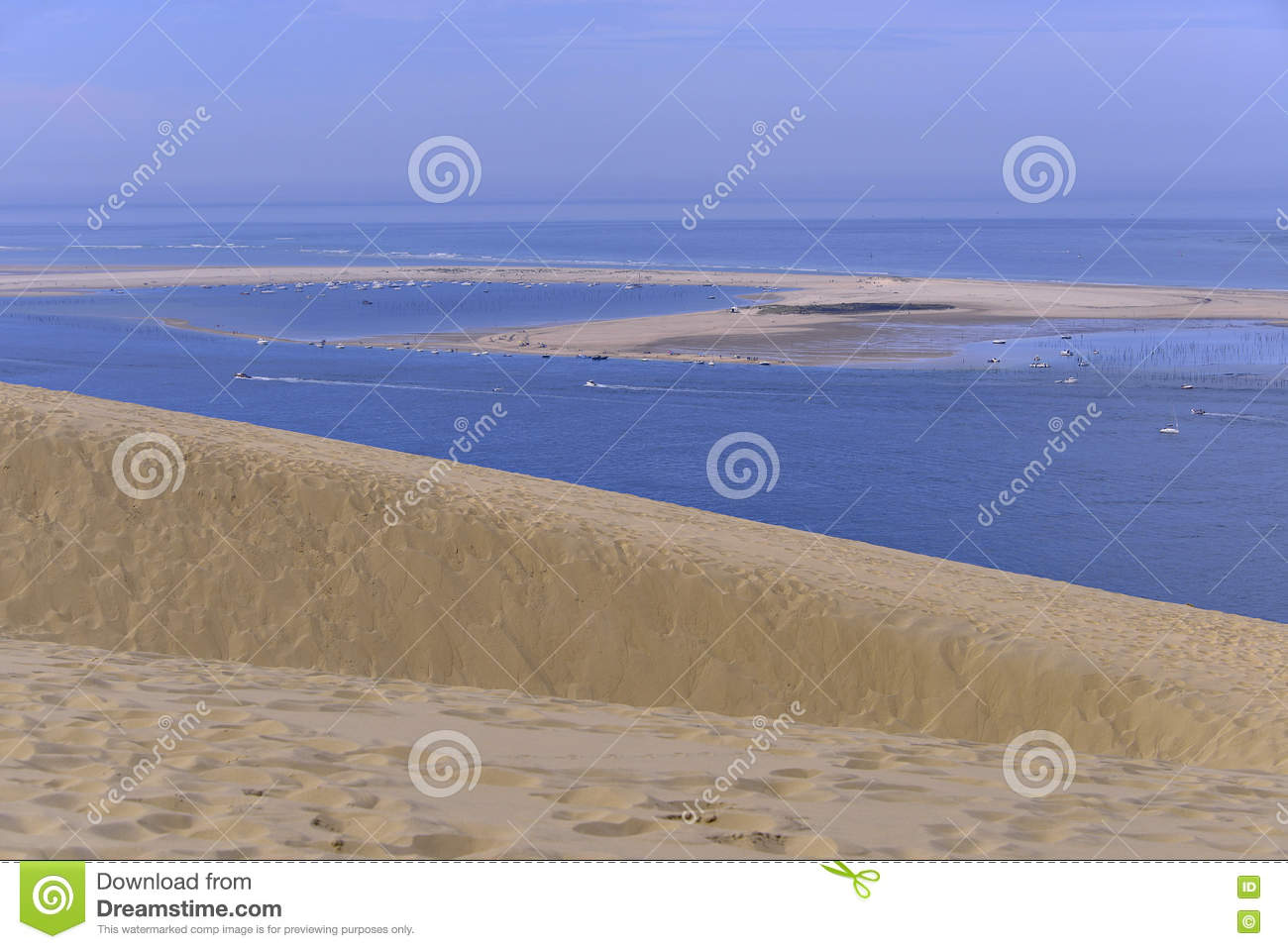 Banc Of Arguin Seen From Dune Of Pilat Stock Photo Image Of Water