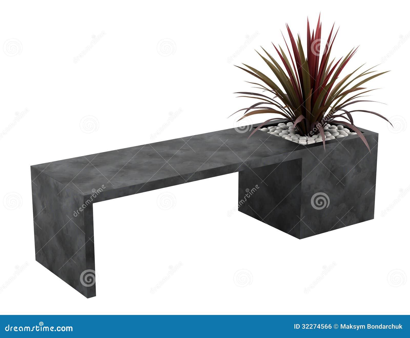 Banc avec le palmier dans le pot d 39 isolement sur le blanc for Palmier dans pot